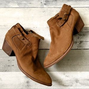 Dolce Vita | Brown Suede Zipper Buckle Ankle Boots
